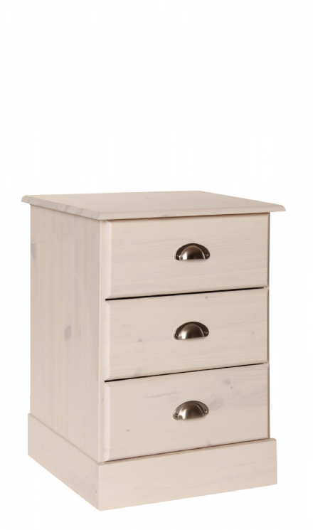 Terra bedside table with 3 drawers in Pine/white